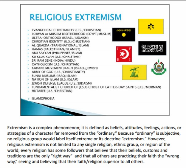 religious extremist slide US Army training