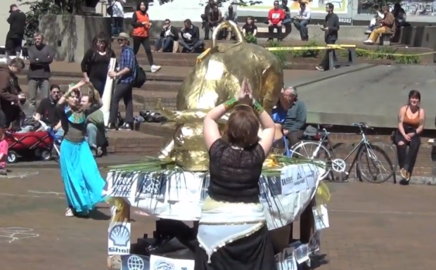 belly dancers ORegon occupy wall street golden calf