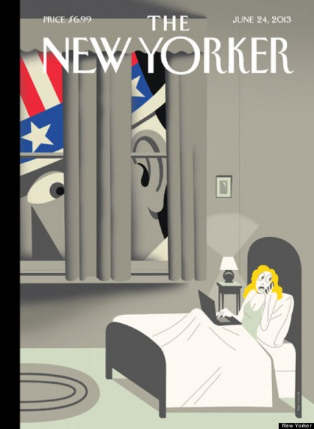 The New Yorker cover features NSA surveillance jab with Uncle Sam becoming a 'peeping Tom'