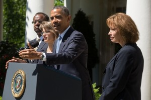 """President Barack Obama delivers a statement announcing the nomination of three candidates for the U.S. Court of Appeals for the District of Columbia Circuit, in the Rose Garden of the White House, June 4, 2013. Nominees from left are: Robert Leon Wilkins, Cornelia """"Nina"""" Pillard, and Patricia Ann Millett. (Official White House Photo by Chuck Kennedy)  ."""