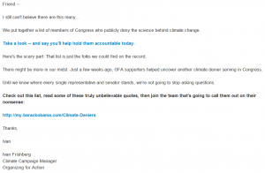climate change email Organizing for Action