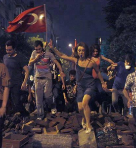 turkey protesters photo flag