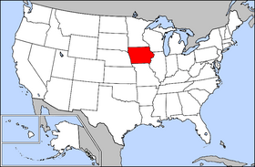 USA map, Iowa in red Image/The General Libraries, The University of Texas at Austin