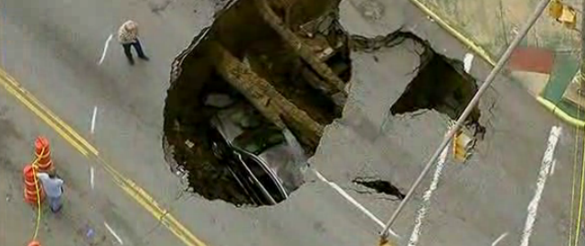 Sinkhole swallows car in Toledo Ohio