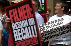 Protests continue in San Diego to demand Mayor Bob Filner to resign  photo: screenshot of CNN video coverage
