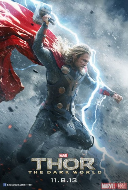 Chris Hemsworth as Thor Dark World poster