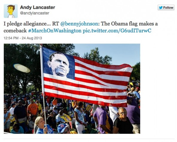 Obama flag at March on Washington rally