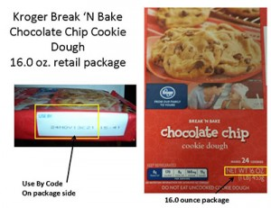Kroger's Break 'n Bake Chocolate Chip Cookie Dough Image/FDA