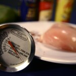 The USDA recommends that all poultry be cooked to a safe minimum internal temperature of 165 °F, as measured with a food thermometer. Image/CDC
