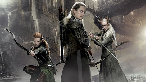 Evangeline Lilly Orlando Bloom Lee Pace Hobbit Desolation of Smaug poster