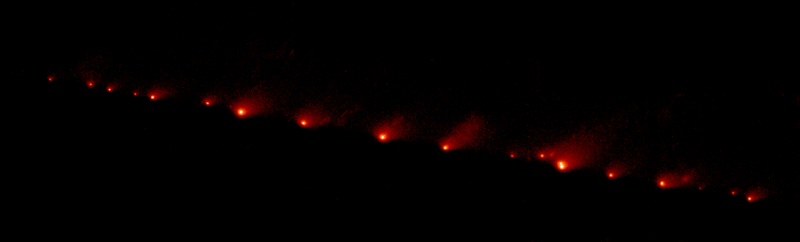 A NASA Hubble Space Telescope (HST) image of comet Shoemaker-Levy 9, taken on May 17, 1994