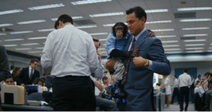 "Leonardo DiCaprio and Chance, the chimp in ""The Wolf of Wall Street"" photo"