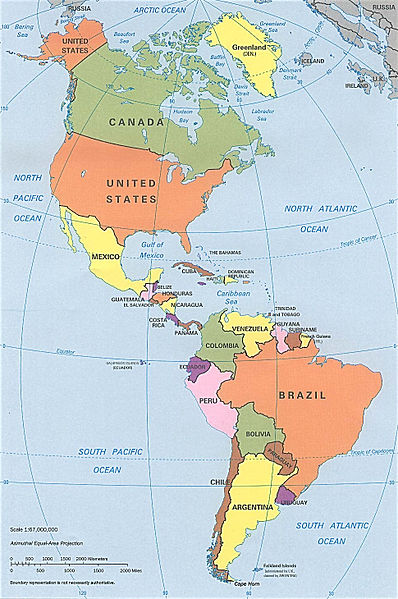 North and South America map Image/CIA