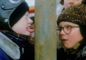 Scott Schwartz as Flick with his tongue stuck on the pole A Christmas Story