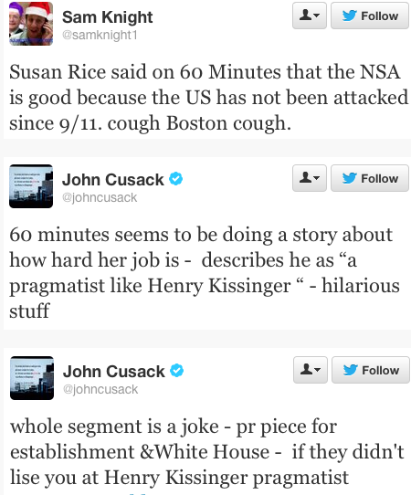 twitter tweets NSA Susan Rice lying joke