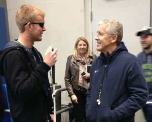 Jake Olson meeting with Coach Pete Carroll