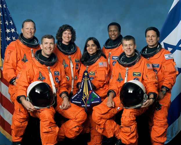 This is the official crew photo from mission STS-107 on the Space Shuttle Columbia. From left to right are mission specialist David Brown, commander Rick Husband, mission specialist Laurel Clark, mission specialist Kalpana Chawla, mission specialist Michael Anderson, pilot William McCool, and Israeli payload specialist Ilan Ramon. All were killed when the shuttle disintegrated over Texas. photo/NASA
