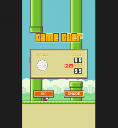 Flappy Bird gameover screenshot