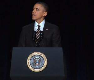 President Obama speaking at the National Prayer Breakfast 2014, screenshot from Whitehouse.gov video