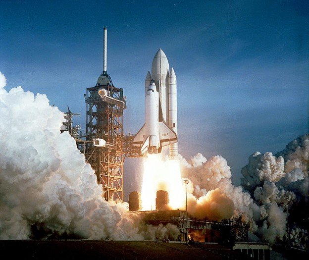 The April 12, 1981 launch of Space Shuttle Columbia photo NASA