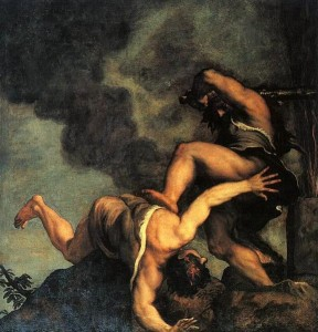 Titian's painting of Cain murdering Abel (circa 1542-1544)