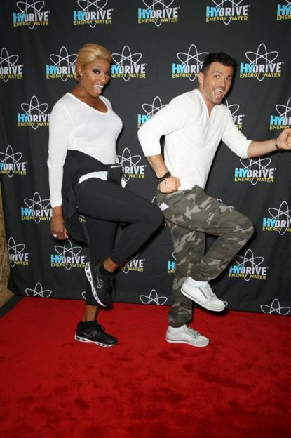Real Housewives of Atlanta's Nene Leakes goofs off with hunky dance partner Tony Dovolani backstage to shake off the nerves before the Dancing with the Stars premiere last Monday. photos courtesy HYDRIVE Energy Water