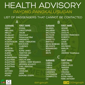 Partial list of passengers Image/Facebook