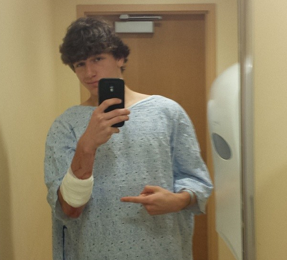 Nate Schimio selfie school attacked with knife