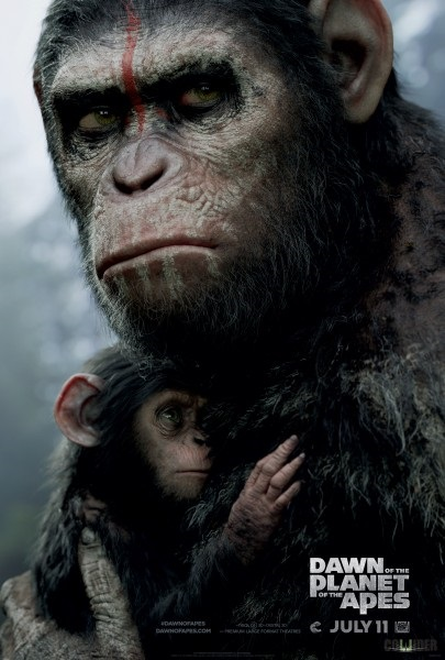 dawn-of-the-planet-of-the-apes-poster-Caesar with baby