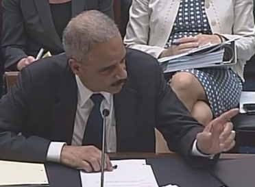 Screenshot of video: Eric Holder waving his finger telling Congress to 'not go there' with contempt remarks