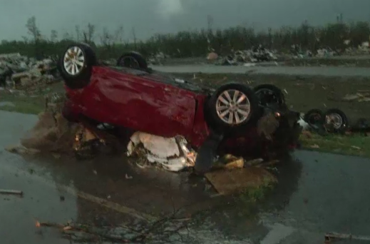 Aftermath of Arkansas tornado photo/screenshot The Weather Channel coverage