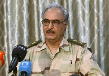 General Khalifa Haftar speaking to reporters photo/screenshot of video coverage