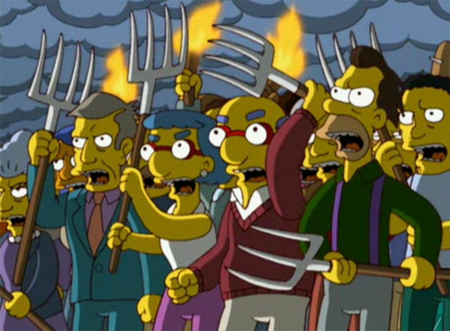 Simpsons angry mob pitchfork torches