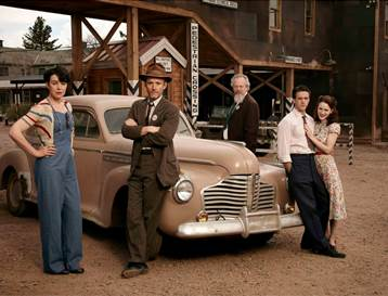 "(L-R) Olivia Williams as Liza Winter, John Benjamin Hickey as Frank Winter, Daniel Stern as Glen Babbit, Ashley Zukerman as Charlie Isaacs and Rachel Brosnahan as Abby Isaacs in WGN America's ""Manhattan,"" premiering SUNDAY, JULY 27 (9 p.m. ET / 8 p.m. CT)"