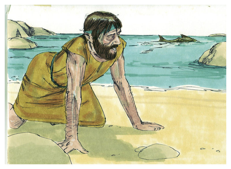 Jonah from the Bible  illustration by by Jim Padgett, courtesy of Sweet Publishing,