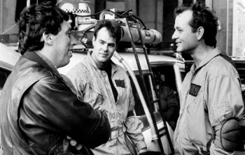 "Ivan Reitman on the set of ""Ghostbusters"" with Dan Akroyd and Bill Murray"