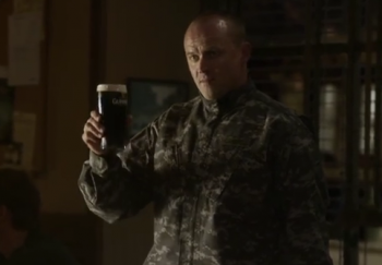 soldier toasting in Guenness beer commercial