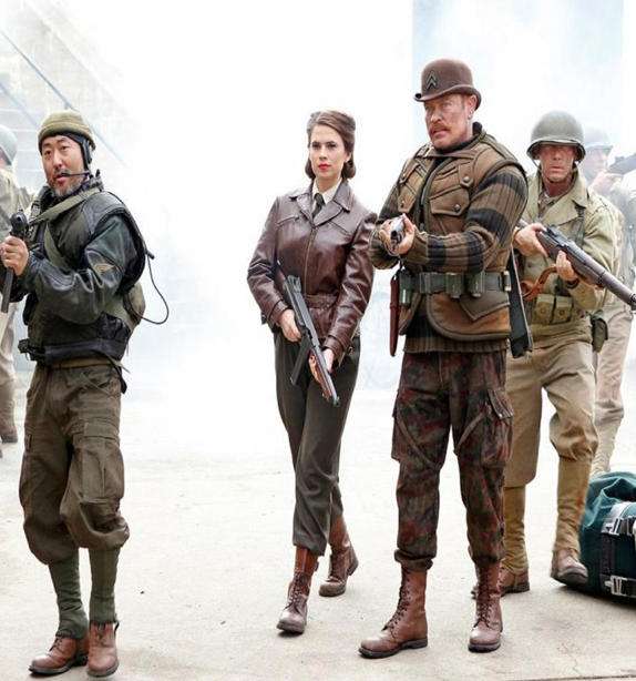 "Haley Atwell as Agent Carter with Howling Commandos in ""Agents of SHIELD"" season 2 photo"