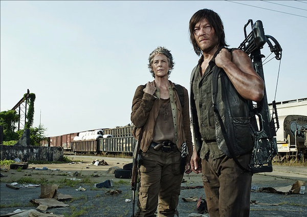 carol and Daryl Melissa McBride Norman Reedus walking dead season 5 photo