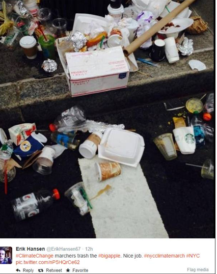environmental protest trash left behind in New York