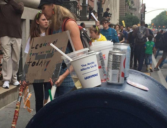 environmental protest trash on mailbox left behind in New York