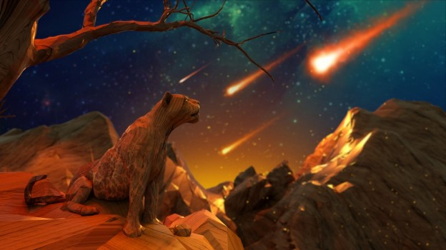 A future cat watches as comets streak through the night sky. What does Mother Nature have in store?