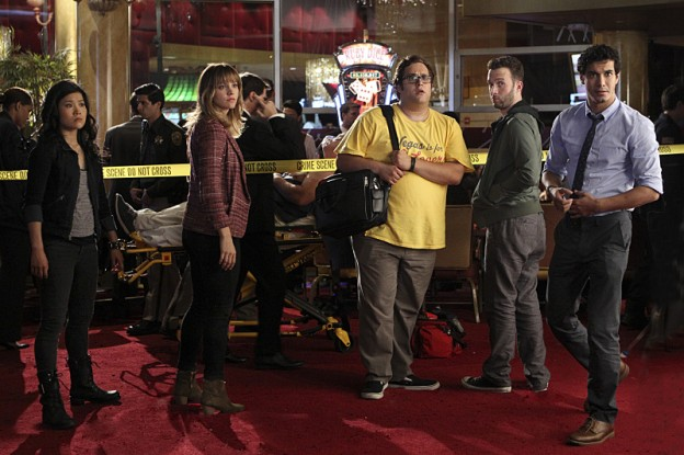 Scorpion cast photo at crime scene