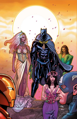 The marriage of Storm and the Black Panther: Promotional art for Black Panther #18 (Sept. 2006) by Frank Cho.