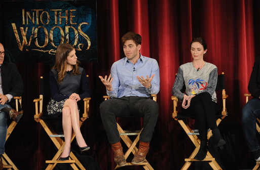 "Anna Kendrick, Chris Pine and Emily Blunt take part in a Q&A following a screening of the film ""Into The Woods"" at the DGA Theater  (Photo by Bryan Bedder/Getty Images for Walt Disney Studios)"