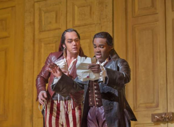 "Christopher Maltman as Figaro and Lawrence Brownlee as Count Almaviva in Rossini's ""The Barber of Seville"""