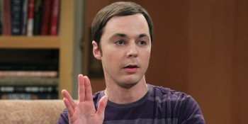 "Sheldon (Jim Parsons) offering the Vulcan sing for ""Live ong and prosper"""
