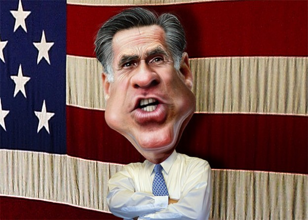 Mitt Romney US flag background donkeyhotey