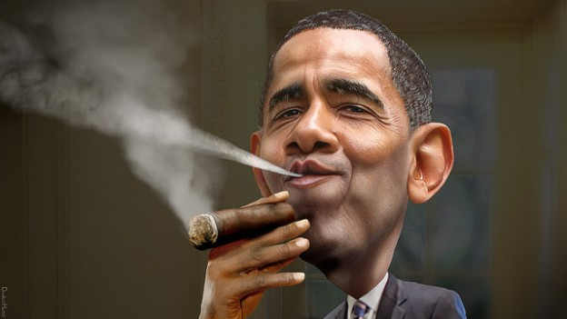 President Barack Obama smoking cigar donkeyhotey