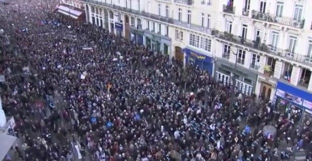 Millions marching in Paris against terrorism photo/screenshot Telegraph video coverage